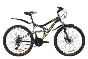 "Велосипед Discovery 26 CANYON AM2 DD рама-17,5"" ST с крылом Pl 2020, серо-желтый (м)"